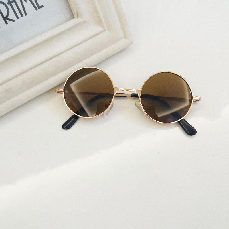 14aa571d110 Children round Frame Sun Glasses man Baby Color Film Reflective Circle  Prince Glasses Cool girl women