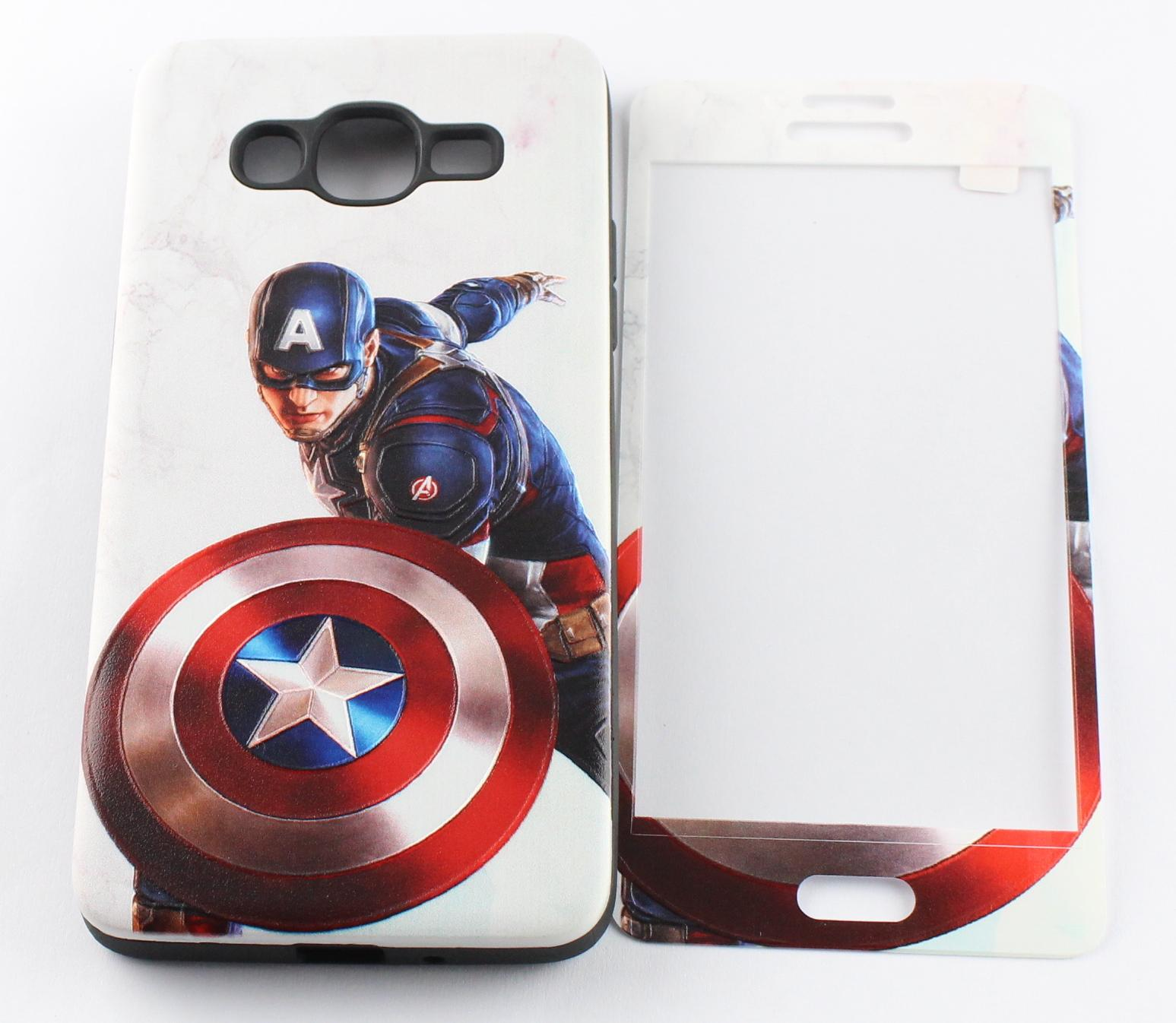 3D Painting Front Full Cover Color Tempered Glass Case + Back TPU PC PU Case Screen