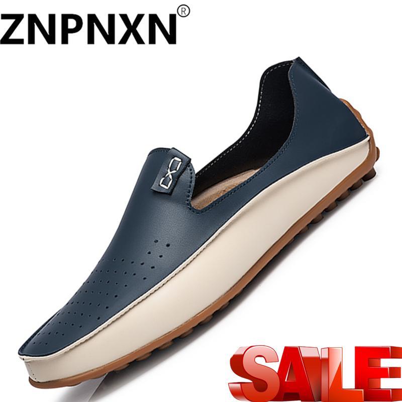 98ba352b975 ZNPNXN Big Size Men Genuine Leather Shoes Slip On Black Shoes Real Leather Loafers  Mens Moccasins