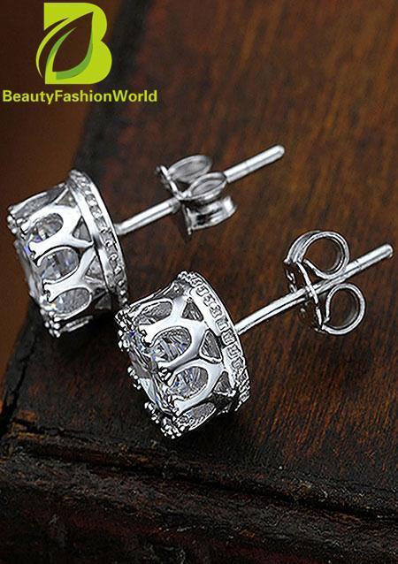 Fashion Cute 925 Sterling Silver Rhinestone Crown Set Ear Stud Earrings Gift - intl