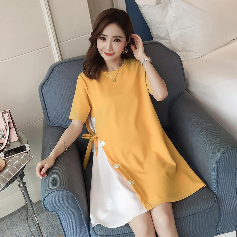 3372d290d5042 2018 New Style Maternity Clothes Summer Wear Fashion Joint Mock Two-Piece Pregnant  Women dress