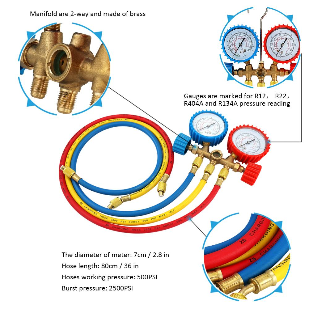 Refrigerant Manifold Gauge Set Air Conditioning Tools with Hose and Hook  for R12 R22 R404A R134A
