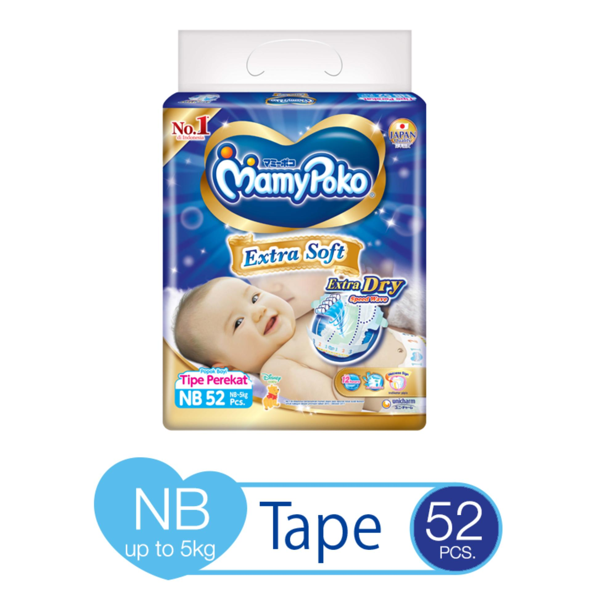 Mamypoko Extra Soft NB - 52 pcs x 1 pack (52 pcs) - Tape