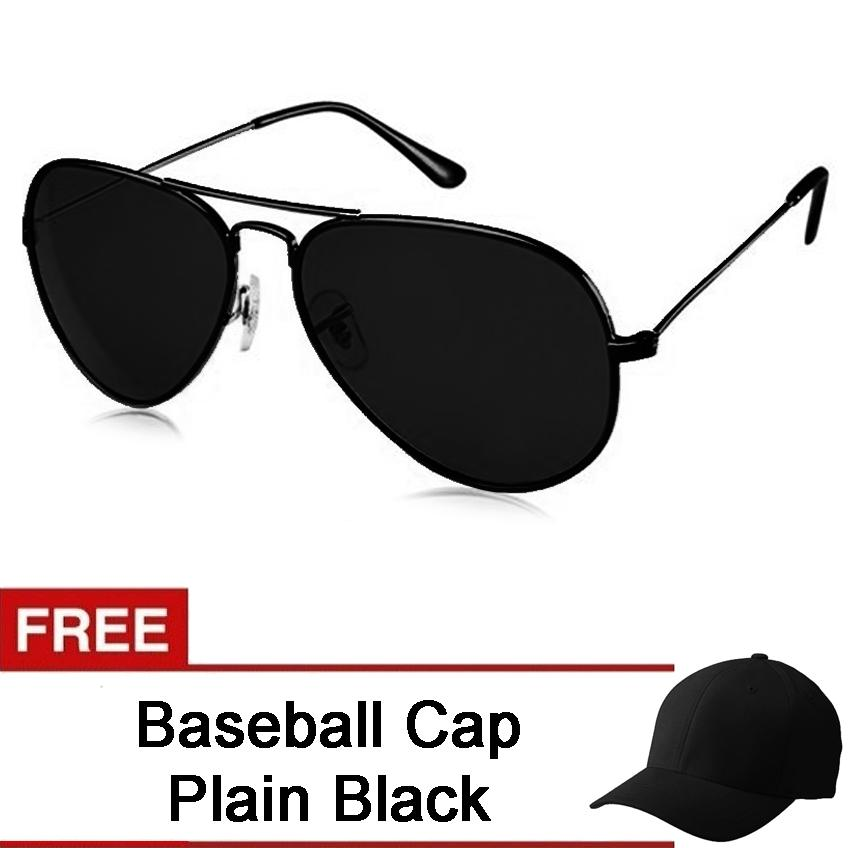 c81dc35817 Mens Pilot Aviator Sunglasses UV 400 Protection Shades Free Baseball Cap  Plain Black