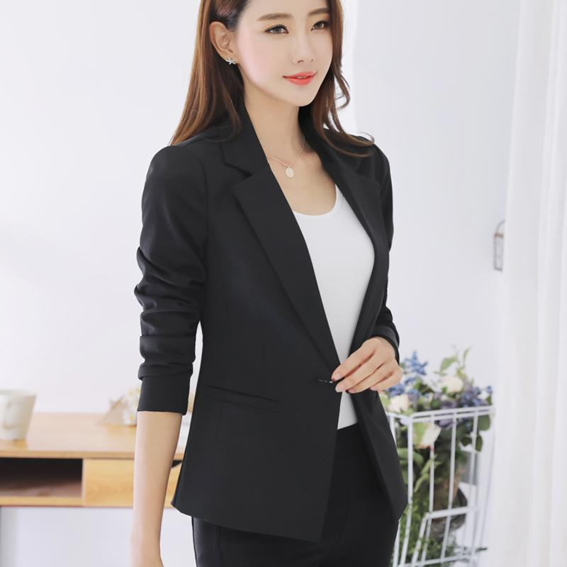 Leikenisi Women s Korean-style Slim Fit Casual Blazer Pink Blue Black (Blue d9bf229438
