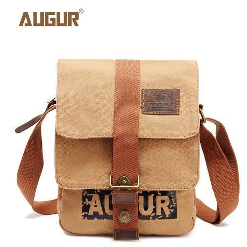 AUGUR Multifunction Canvas Single Mini Shoulder Bags Brand Vintage Military  Men Messenger Bag Small Flap Male 80ab66e906580