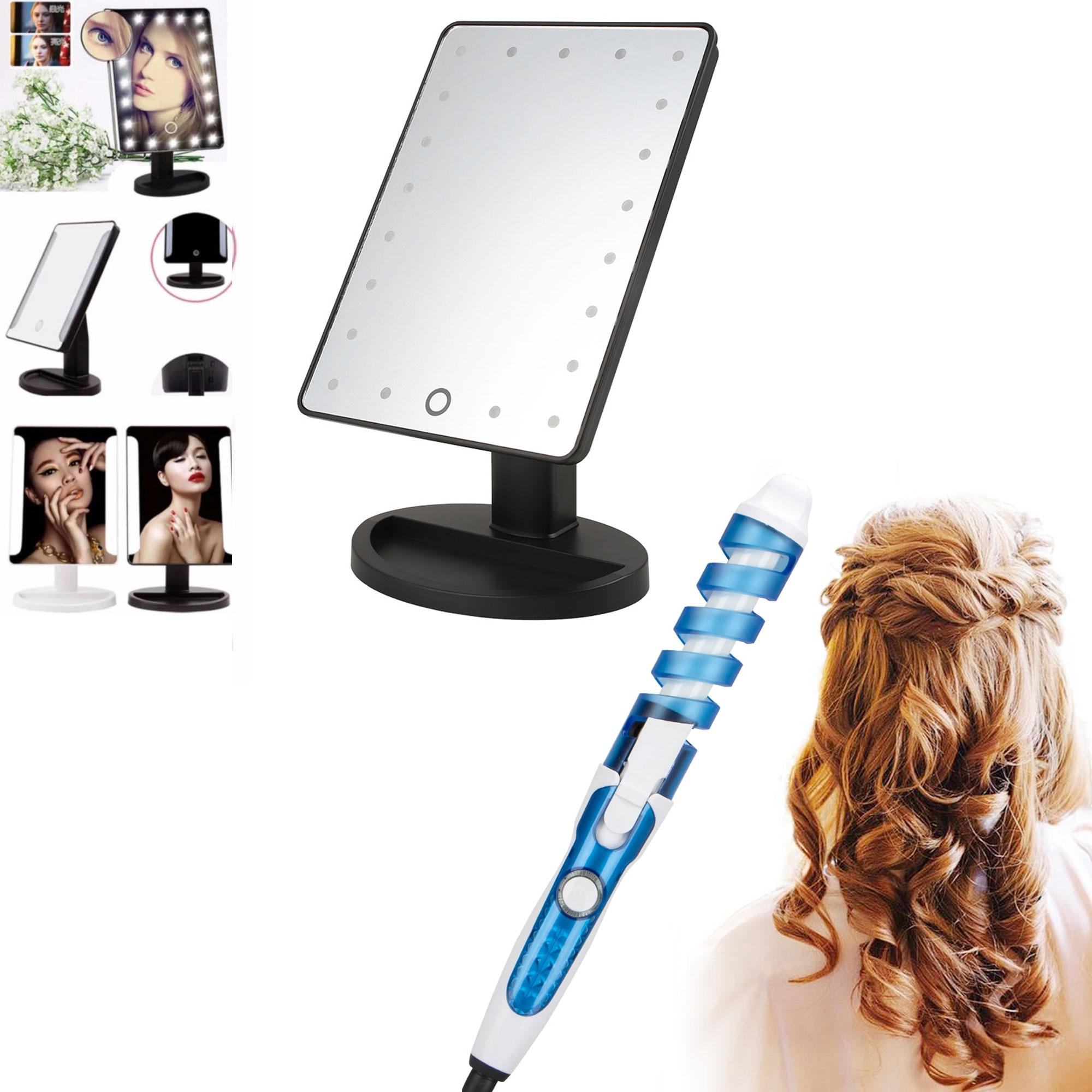 XR-1608 Make Up Vanity Illuminated Desktop Table Makeup Stand Large LED Mirror with 16 LED Light (Black) with RZ-118 Professional Hair Curler (Blue/White) Philippines