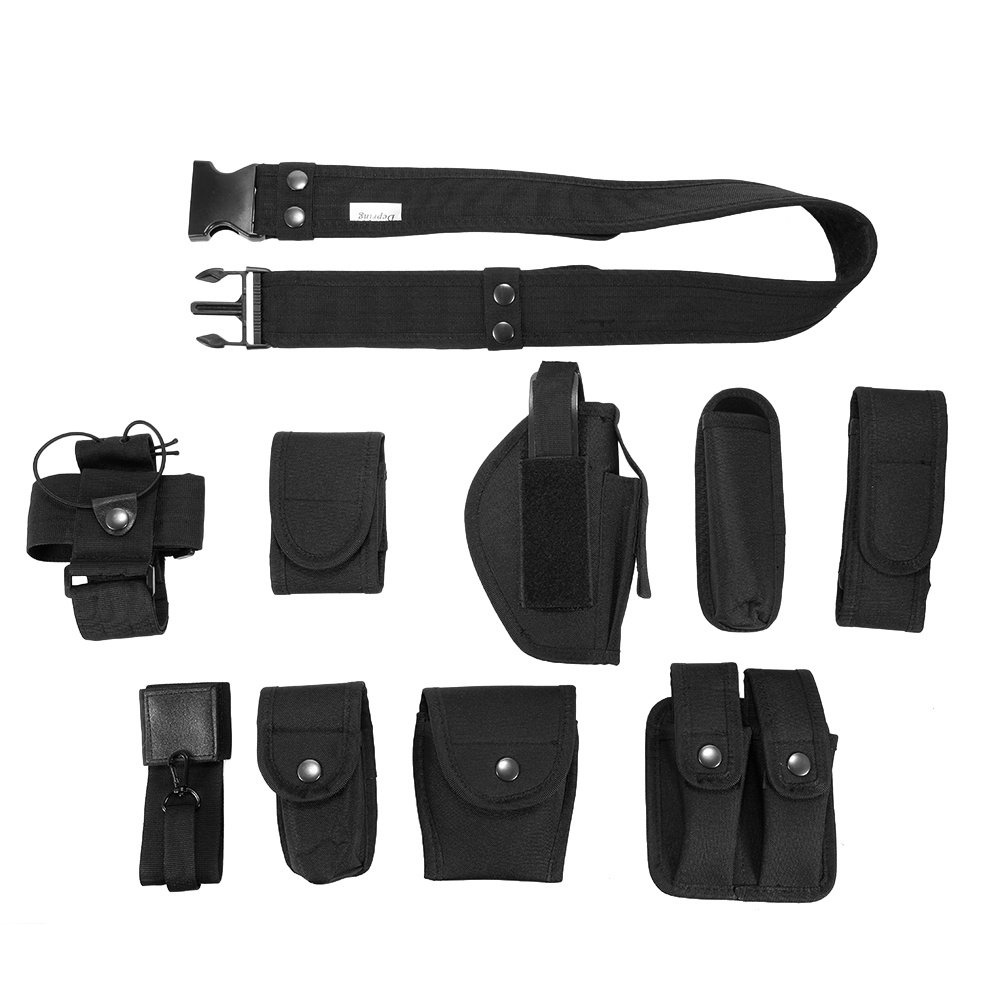 Lixada Tactical Police Security Guard Equipment Duty Utility Kit Belt with  Pouches System Holster Outdoor Training Black - intl