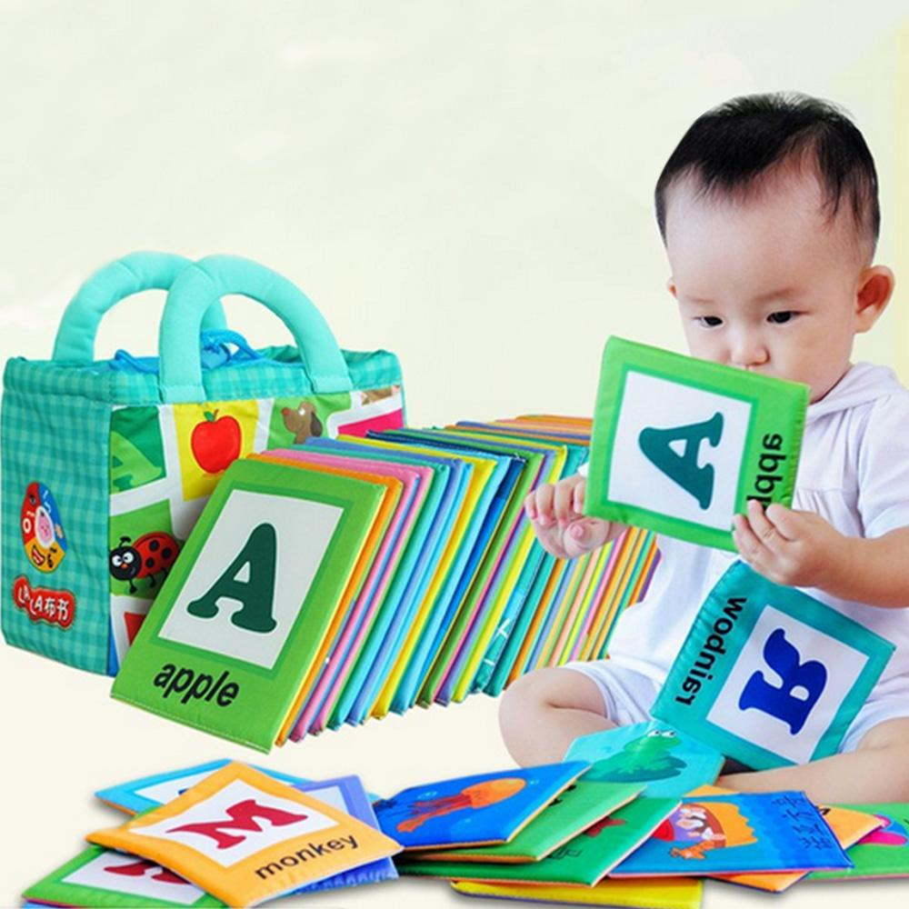 26 Pcs Baby Early Educational Double-Faced Color A-Z Letter Words Learning Soft Fabric Cloth Book Card With Storage Bag - Intl By Elek.