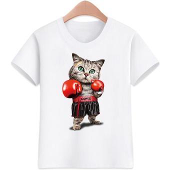 3 to 16 yrs. old Cat Boys&Girls Cartoon Design for Kids T-Shirts Cotton Summer Short Sleeve Kids Tops Tee Kids T-Shirts