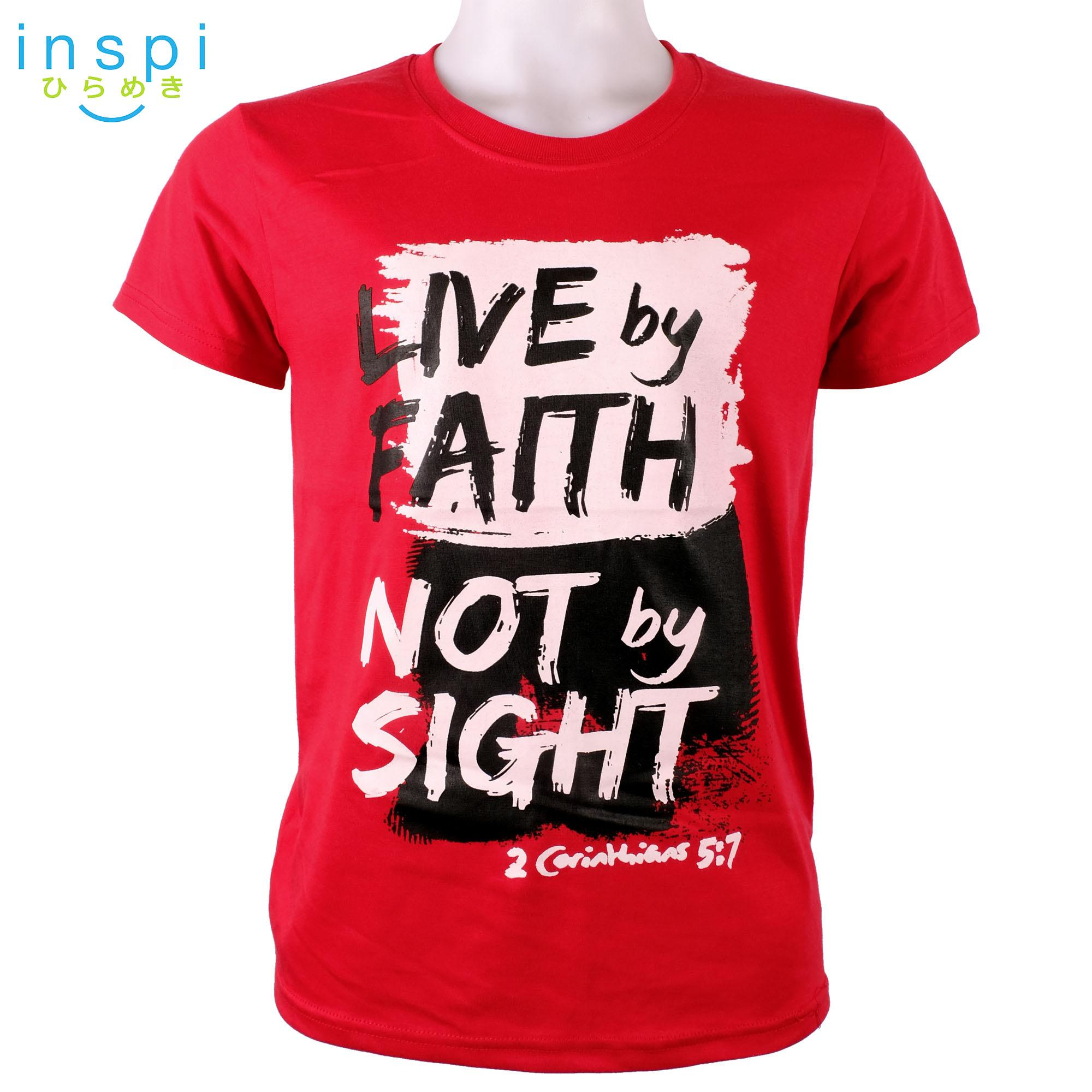 53b2843477b INSPI shirt Live by Faith not by Sight (Red) tshirt printed graphic tee Mens