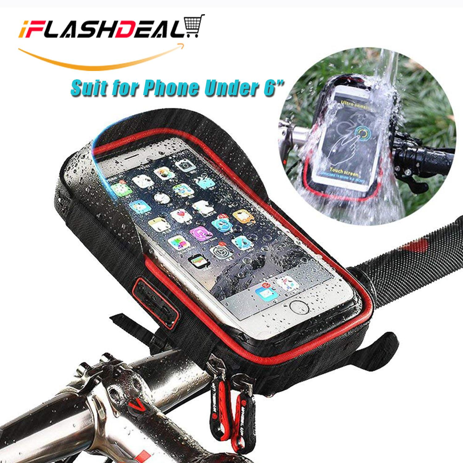 new concept 1c468 96a2e iFlashDeal Waterproof Motorcycle Bike Bicycle Front Bag Case Mount Holder  for Mobile Phone Below 6 inch