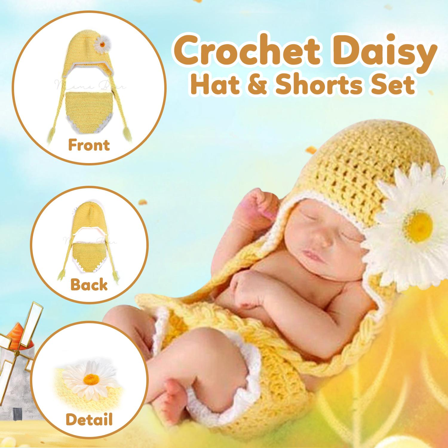 392945e6604 Newborn Baby Photography Prop Knitting Costume Outfits Crochet Cotton  Chrysanthemum Baby Girl Photo Props Crochet Daisy