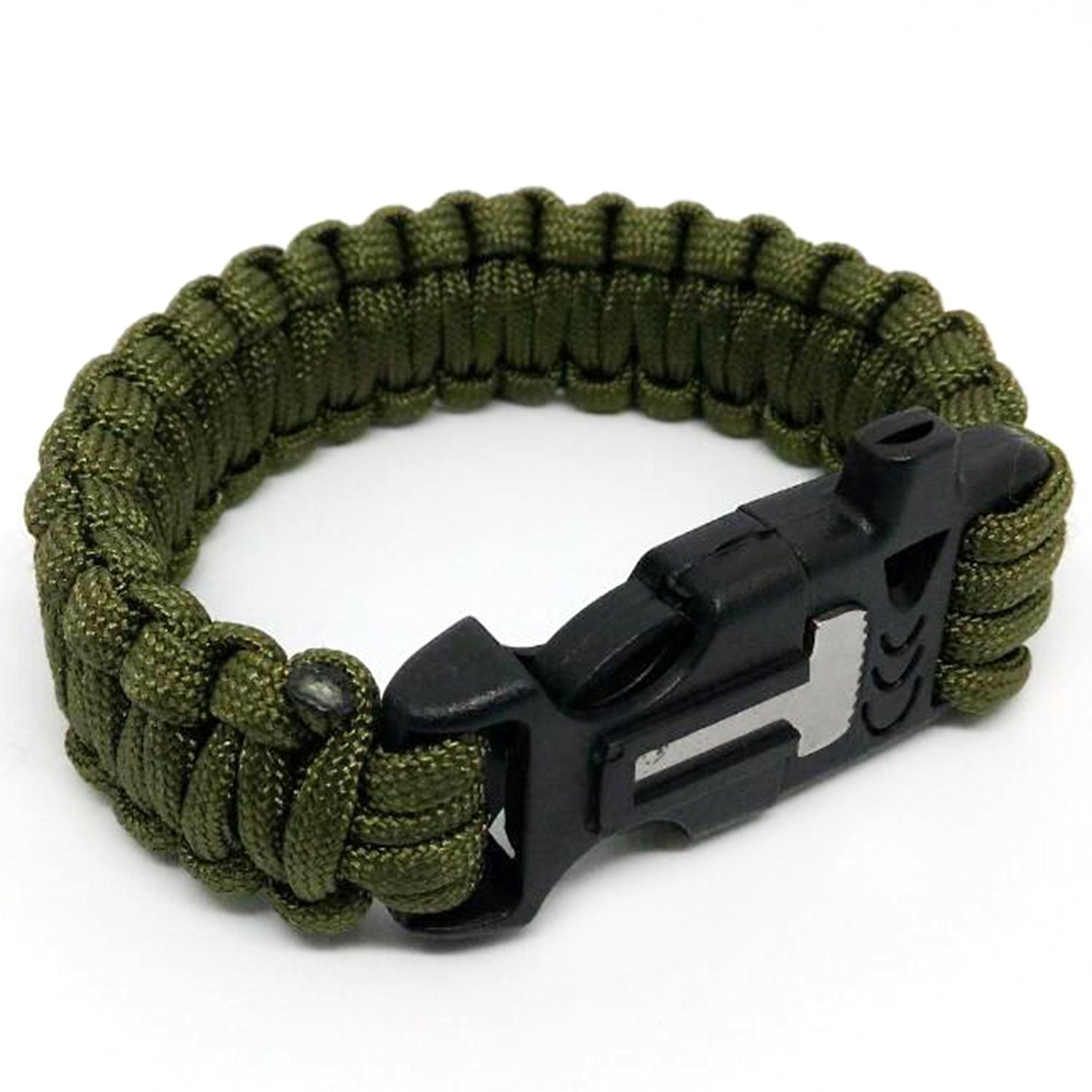 Survival Paracord Bracelet Whistle Gear Flint Fire Starter Scraper Kits By Happy Tree.