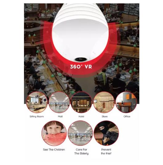 CCTV IP Panorama Camera H-220L 360 Degree Spy Light Bulb Wifi 960P Easy to  achieve real time remote viewing Full control COD ICSEE APP