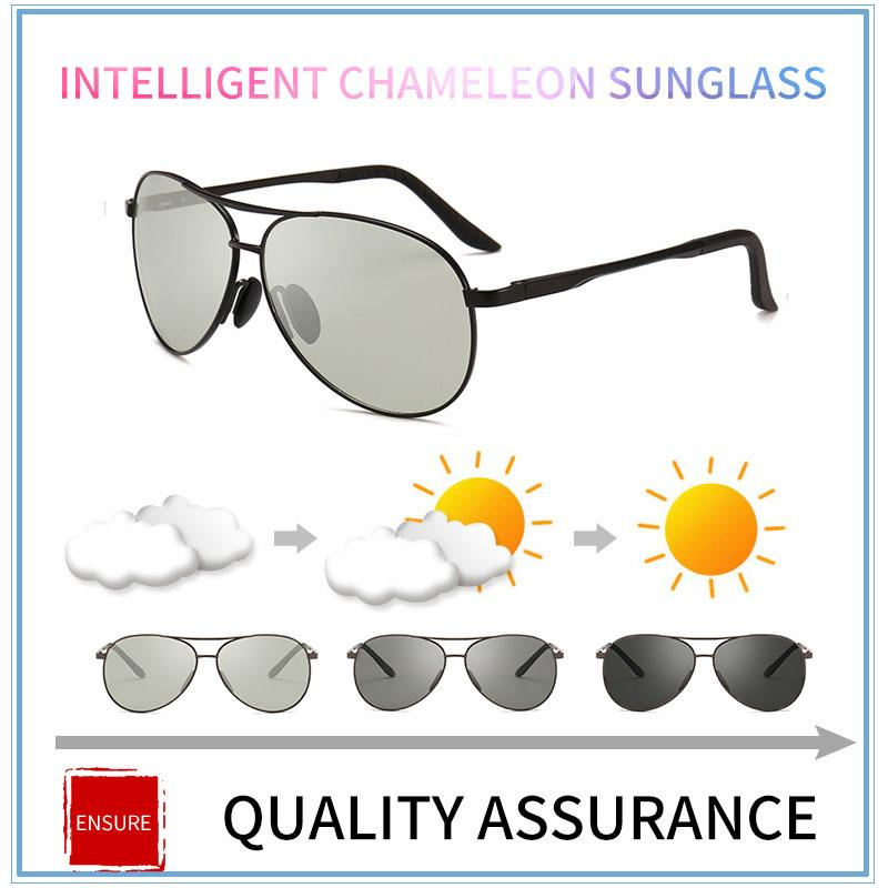 6a3ebb91b9 2018 Pilot Photochromic Sunglasses Men Driving Polarized Sun Glasses  Chameleon Driver Safety Night Vision Goggles Glasses