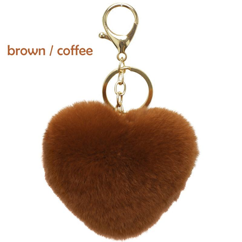 7f1ce9fcac AMOG Heart Shape Fur Ball Bag Keychain for Car Key Ring Handbag Bag  Decoration