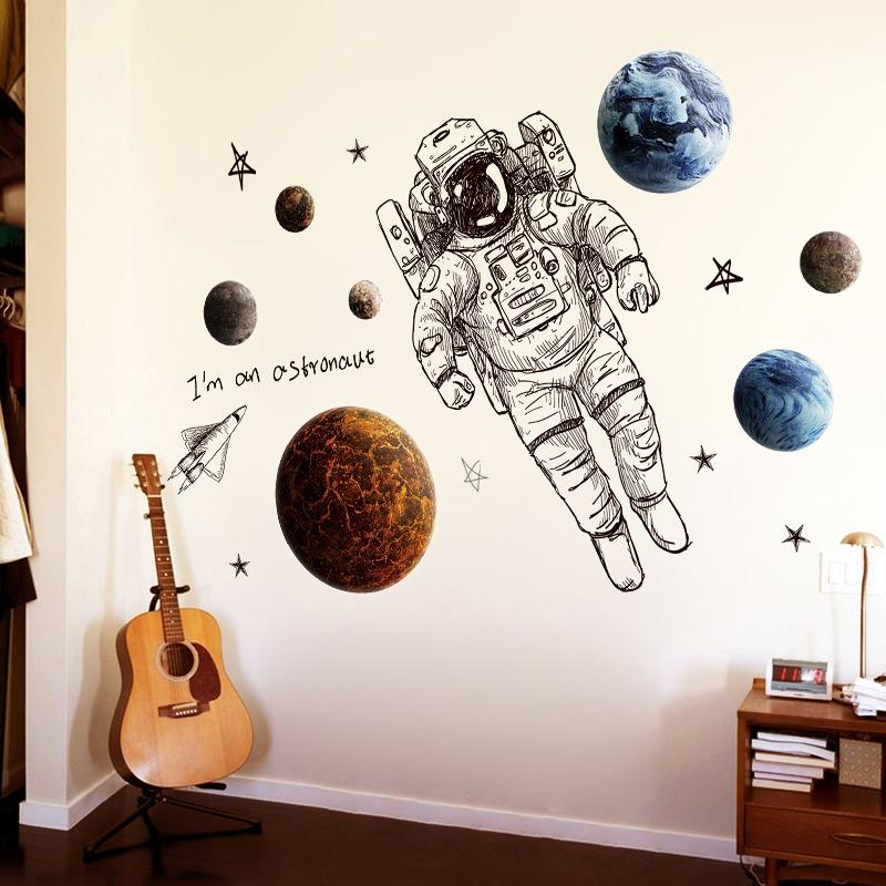 3d astronaut wall decor creative space cosmic starry sky wall sticker 3d children room kindergarten selfadhesive stickers for sale decals prices brands review in