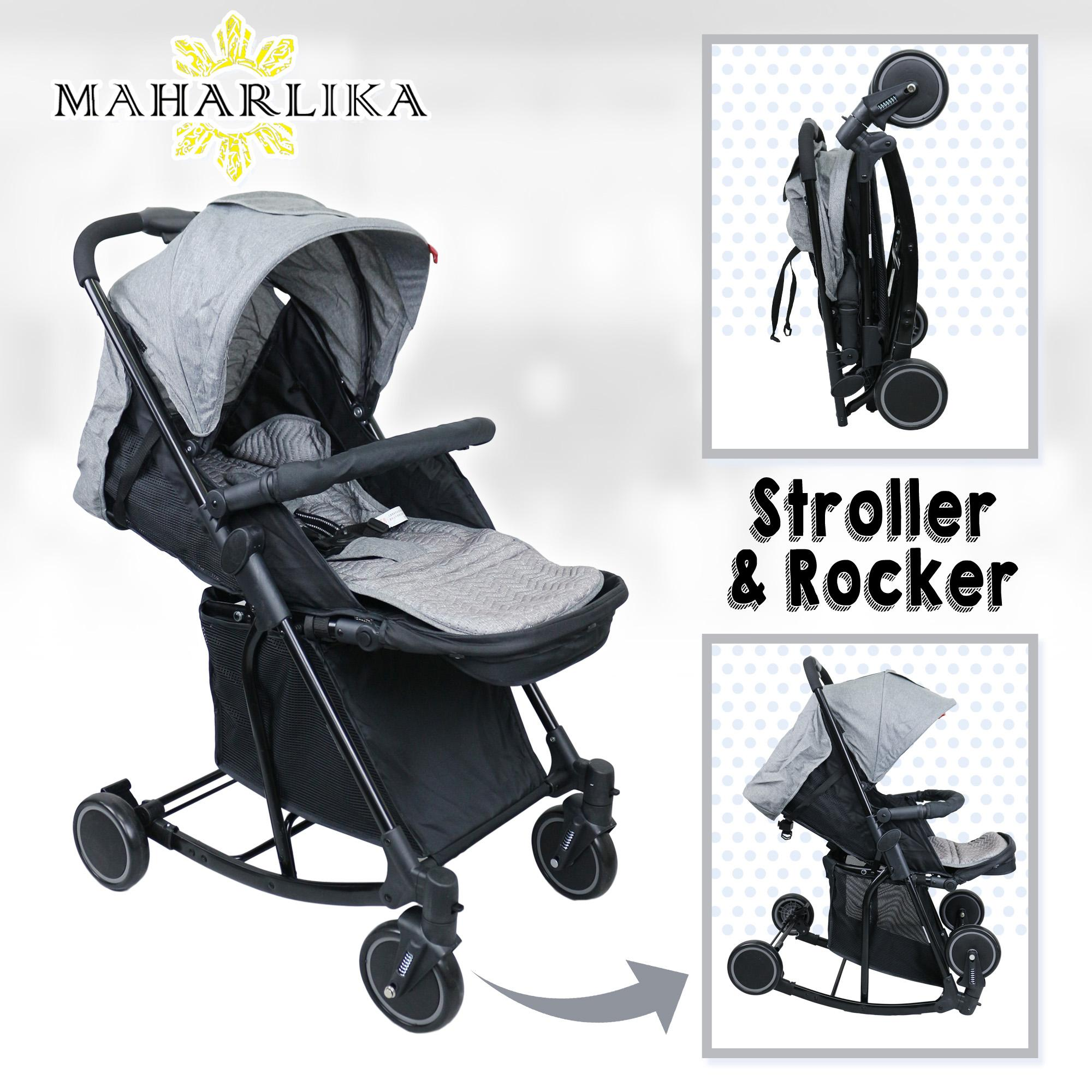 Mk Folding Convertible Baby Stroller Rocker For Baby 0 To 3 Years Old Grey T609 By Maharlika.