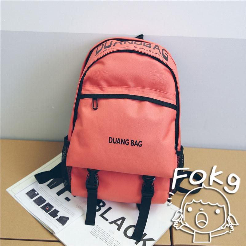dd7ba08c24 Korean Style BF Style Middle School Students Simple Lettered Backpack man  Hong Kong Style Junior High