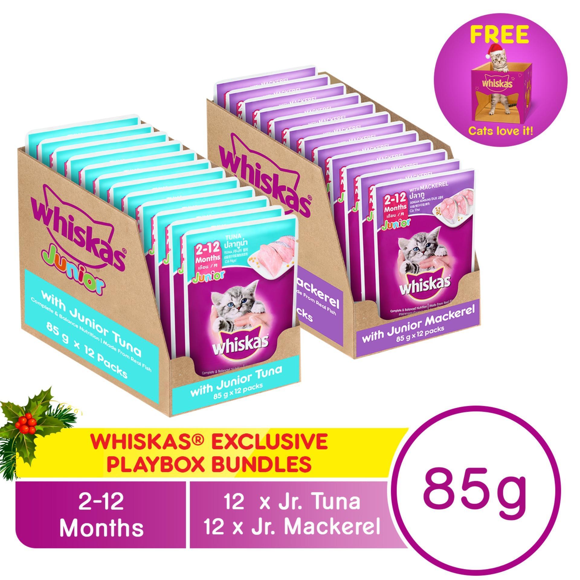 WHISKAS® Bundle Junior Tuna Pouch Wet Cat Food Pack of 12 (85g) + Junior Mackerel ...