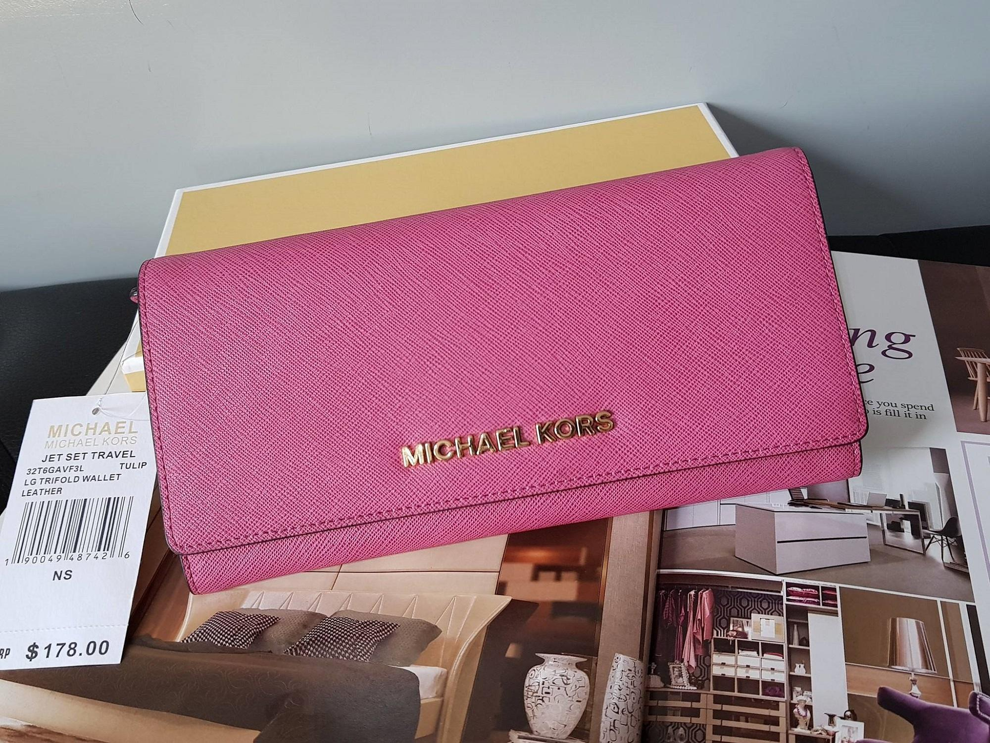 14b0888923ad2b Michael Kors - Jet Set Travel Saffiano Leather Continental Wallet - Pink