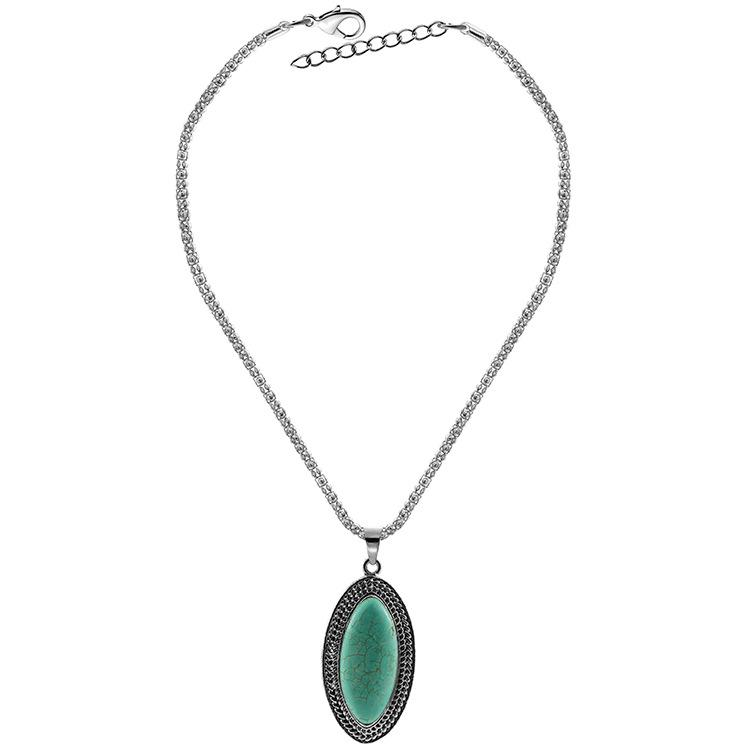Women Girls Jewelry Ethnic Bohemian Turquoise Pendant Necklace with Retro  Pattern Trim for Cocktail Party Green 10574926b942
