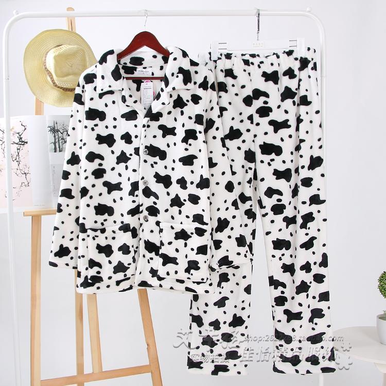 Pajamas Mens Suit Long Sleeve Trousers Plus-Sized Thick Flannel Autumn & Winter Leisure Homewear Set By Taobao Collection.