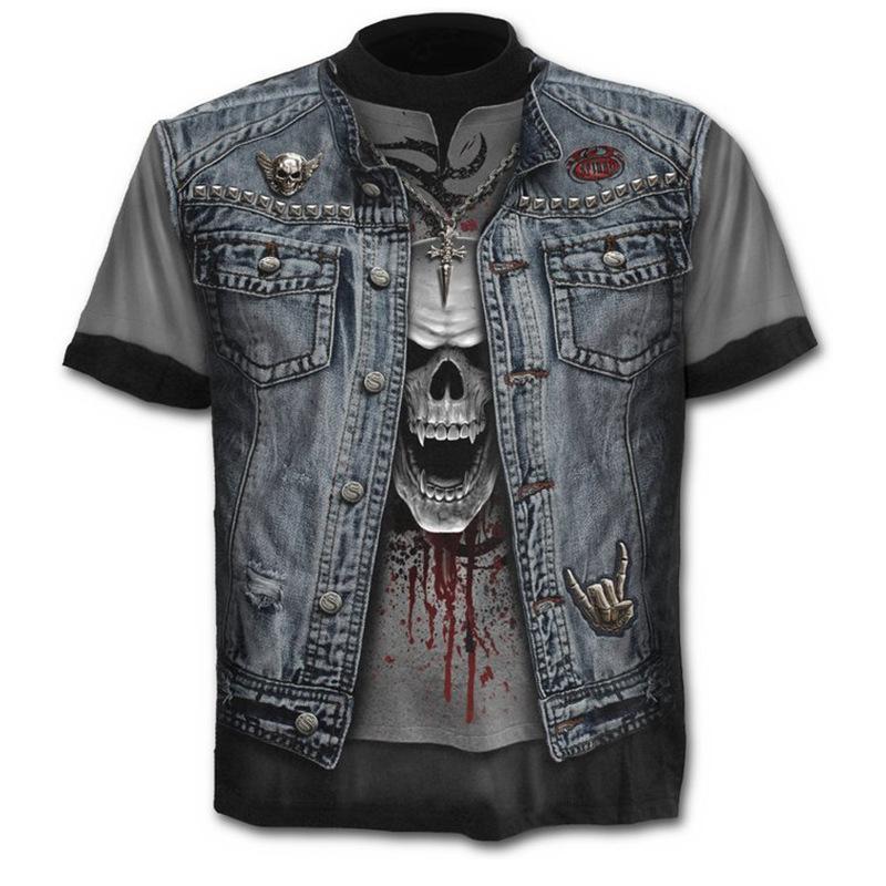 Men s Fashion O-neck Terror Skeleton Print Gothic Style Short Sleeve  T-Shirts 1281d77a7274