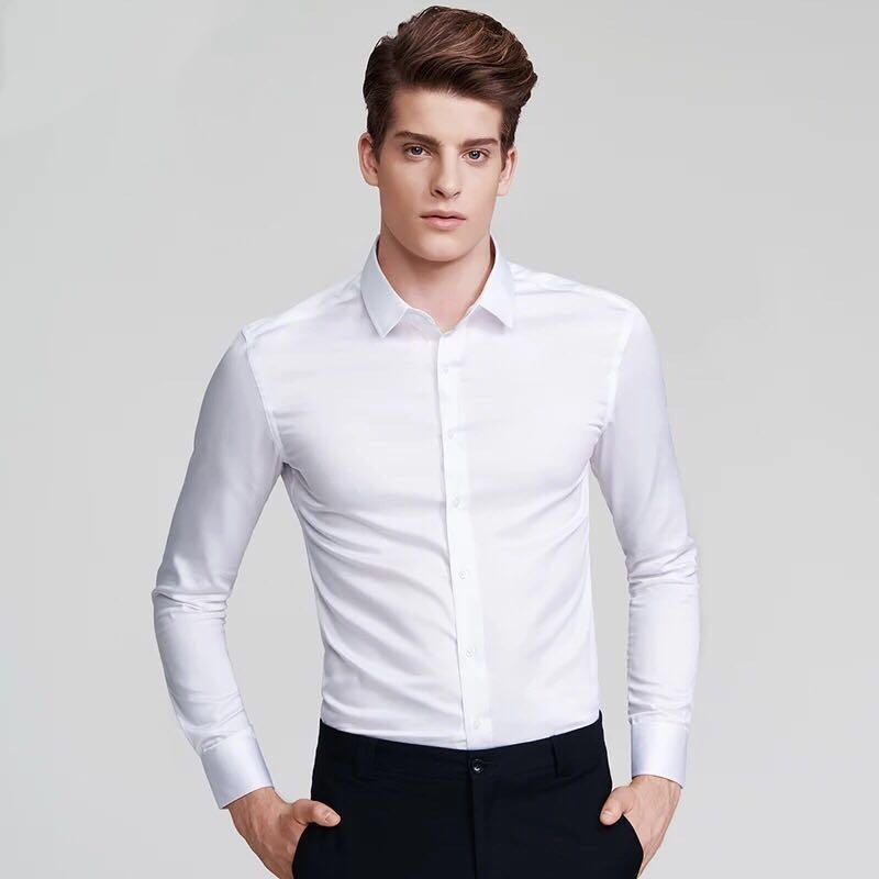 5cb67408cd033 Korean-style men long sleeved body type p ain shirt mens shirt men Clothing