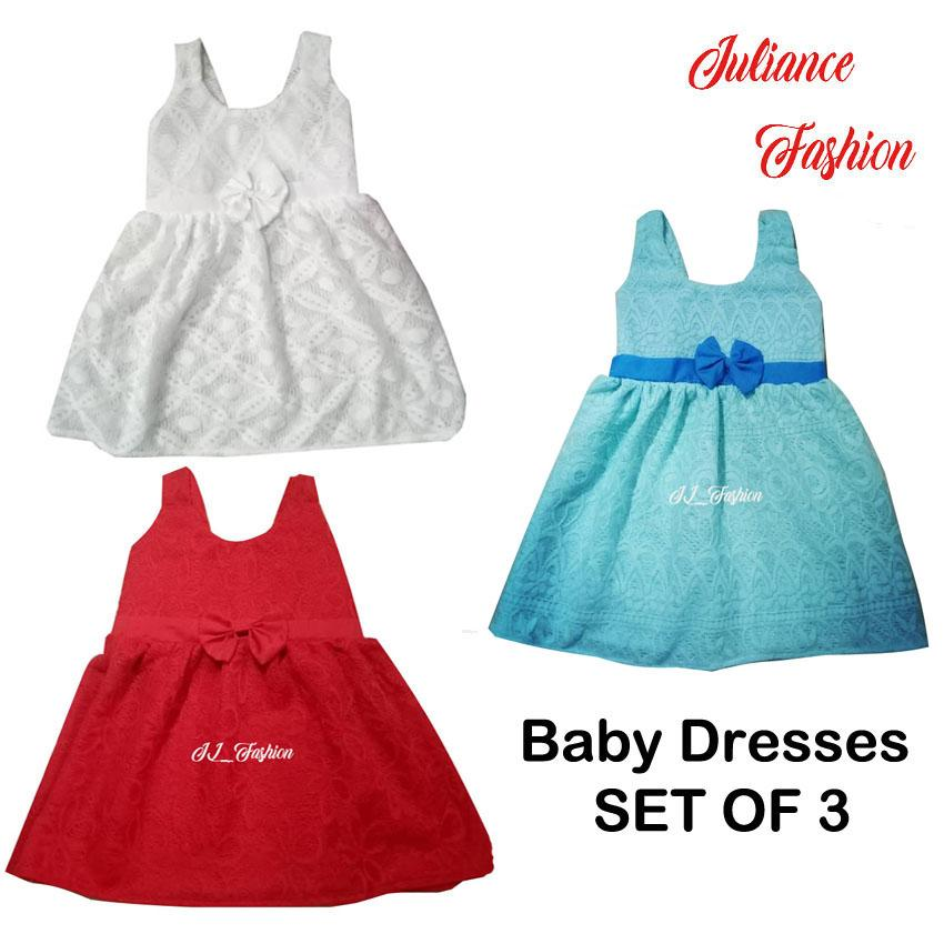 juliance baby dresses set of 3 04months to 1year old
