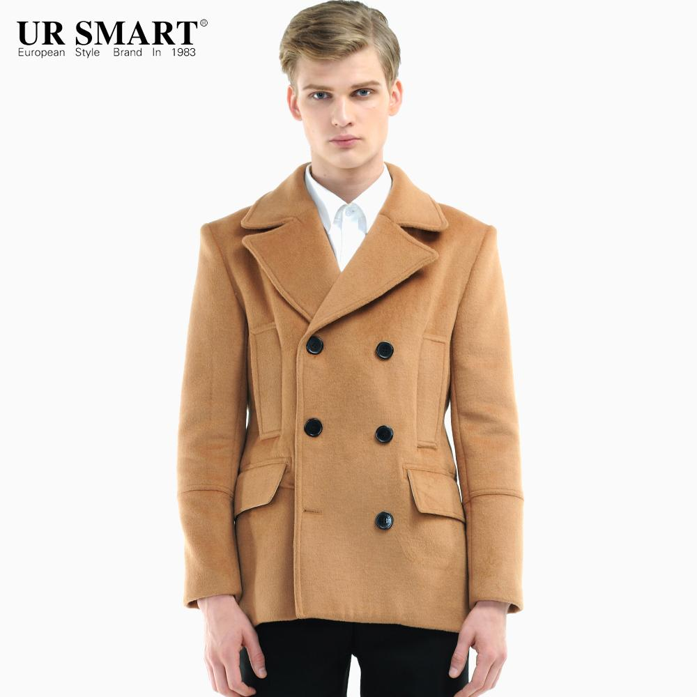 4b26771b01c50 URSMART2014 New Products Short Overcoat Double Breasted Wool Blended Camel  Popularity Men s Coat