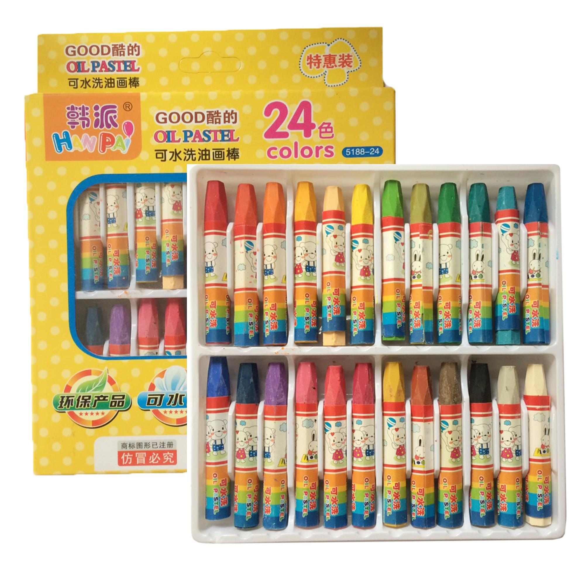 24 Colors Non-Toxic Oil Soft Pastel Childrens Galley Drawing Crayons Set Kids 238g By Geneva Online Shop.