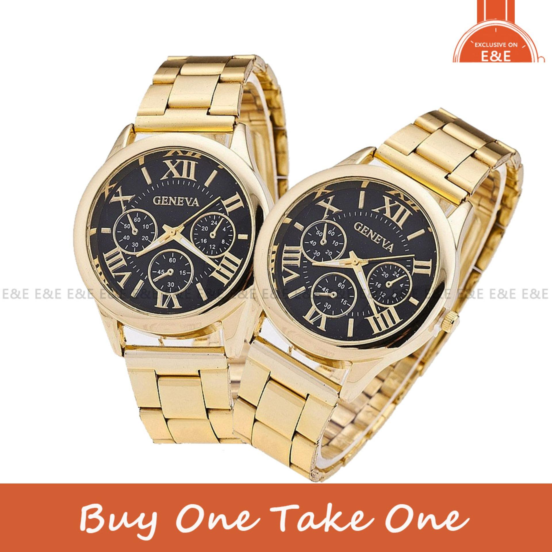 9ad0cafaf03 Geneva SY-3 Roman Numerals Women s Gold Black Steel-belt Watch BUY 1