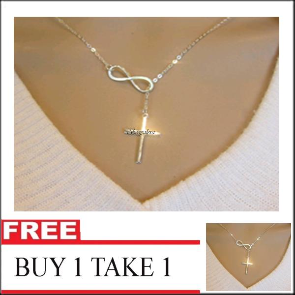 Sosyalera Buy 1 Take 1 Infinity Cross Necklace(Stainless Gold Plated)