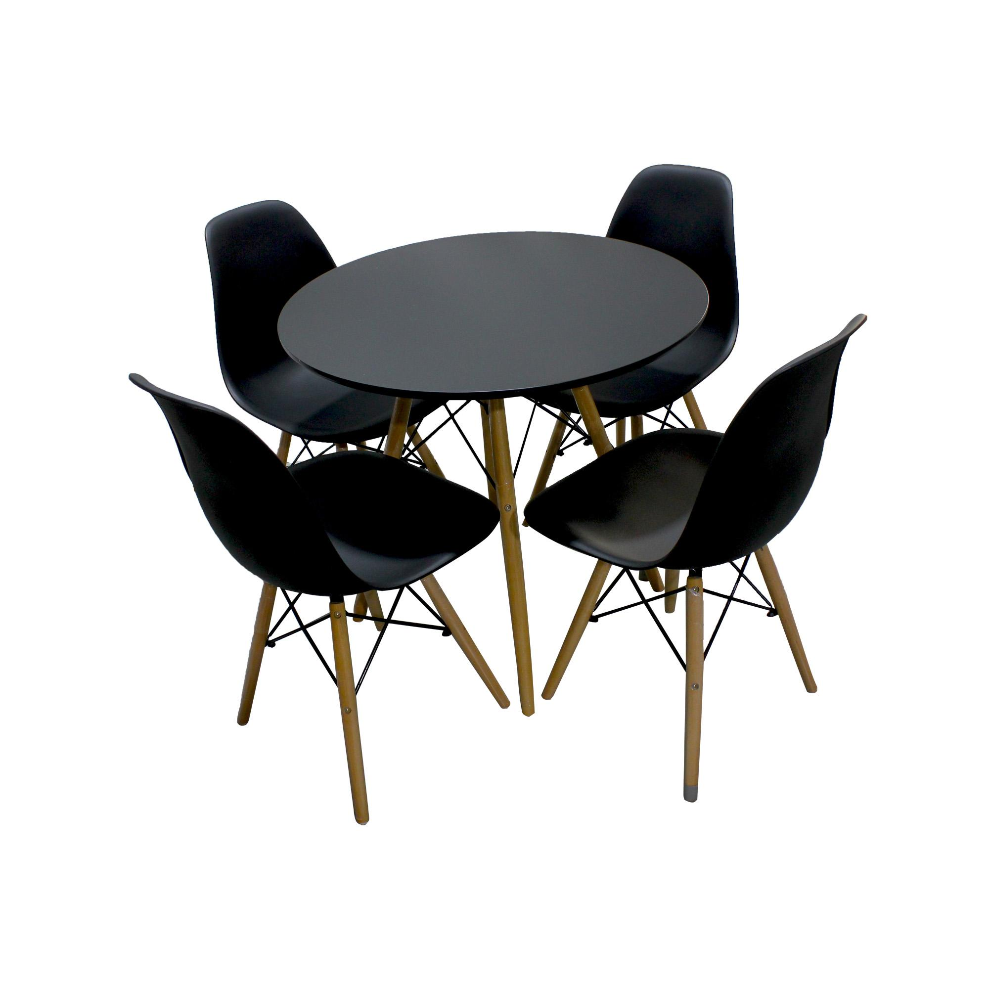 A334B 1pc Round Dining Table And A 304 4pcs Chair Set