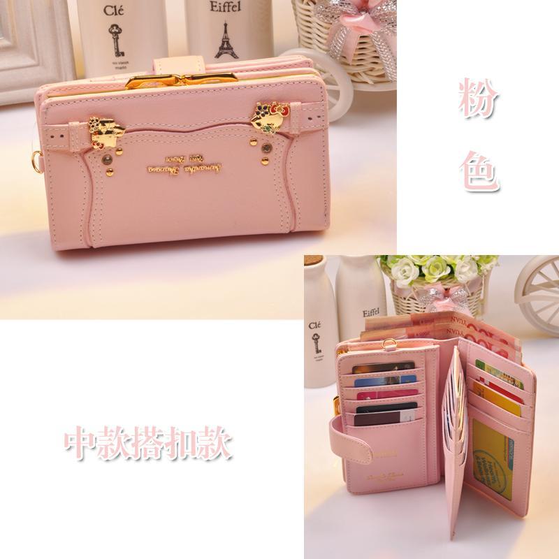 b0d2cf6b2 New Style Korean Style Hello Kitty Samantha women Leather Wallet Medium  Length Two-fold Clasp