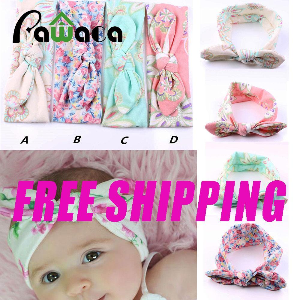 [FREE SHIPPING]Pawaca Baby Girls Elastic Turban Rabbit Ear Headbands Head Wrap (4Pcs