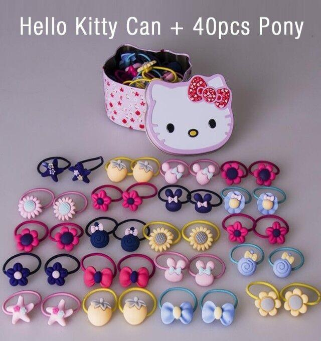 d326017fb Product details of 40 Pieces Pony Tail with Kitty Can Floral Star Ribbon  Strawberry Hair Ties Random Color PonyTail Kids Hair Accessories