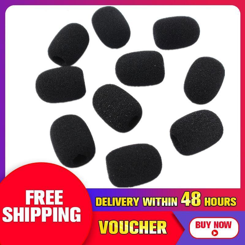 【Free Shipping + Flash Deal】10Pcs Microphone Headset Grill Windshield Sponge Foam Black Mic