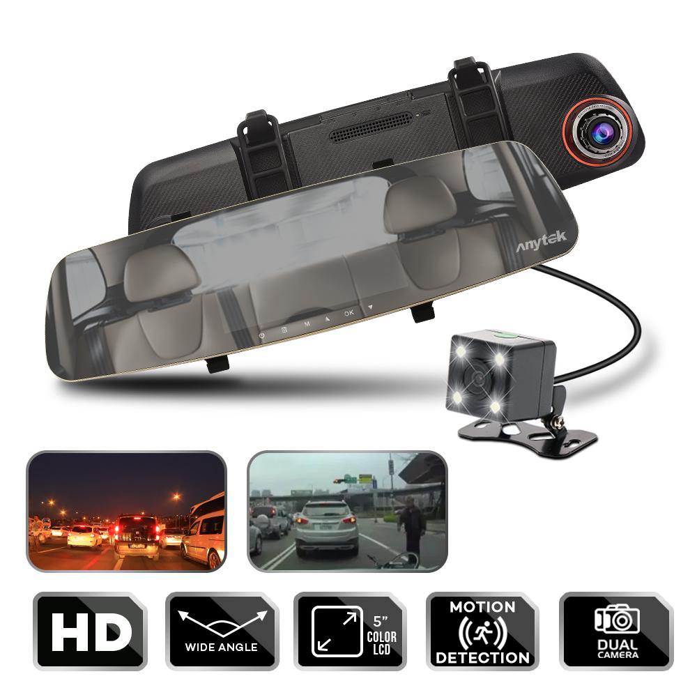 Anytek T25 1080p Car Camera Video Recorder Dual Lens For Front & Rearview Mirror Car Dvr Dash Cam Parking System Mirror Video Led Waterproof Rear Camera (gold) By Lucky Hr.