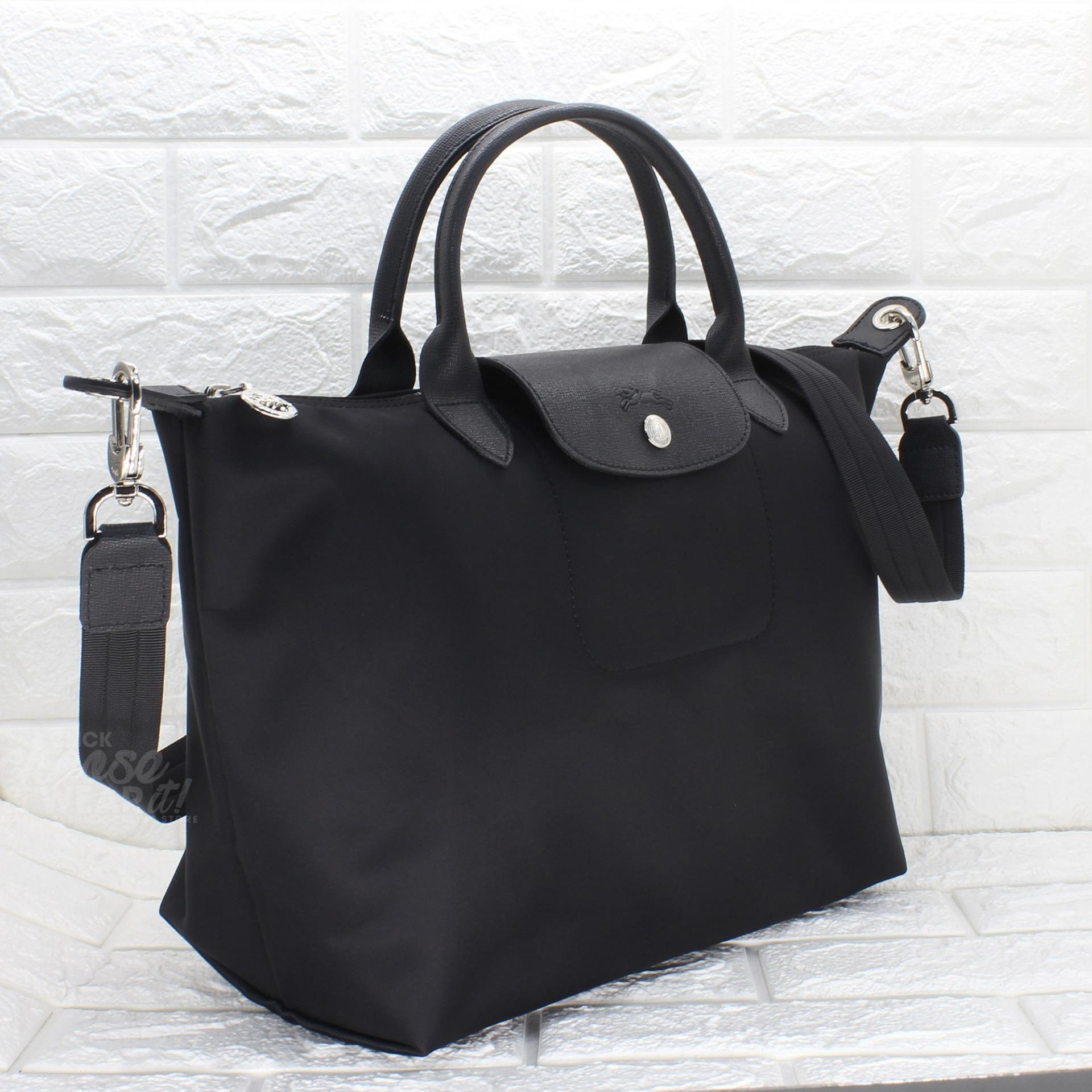 Authentic Longchamp Made in France Medium Le Pliage Neo Top Handle Tote -  Black 9095bccffe8b3
