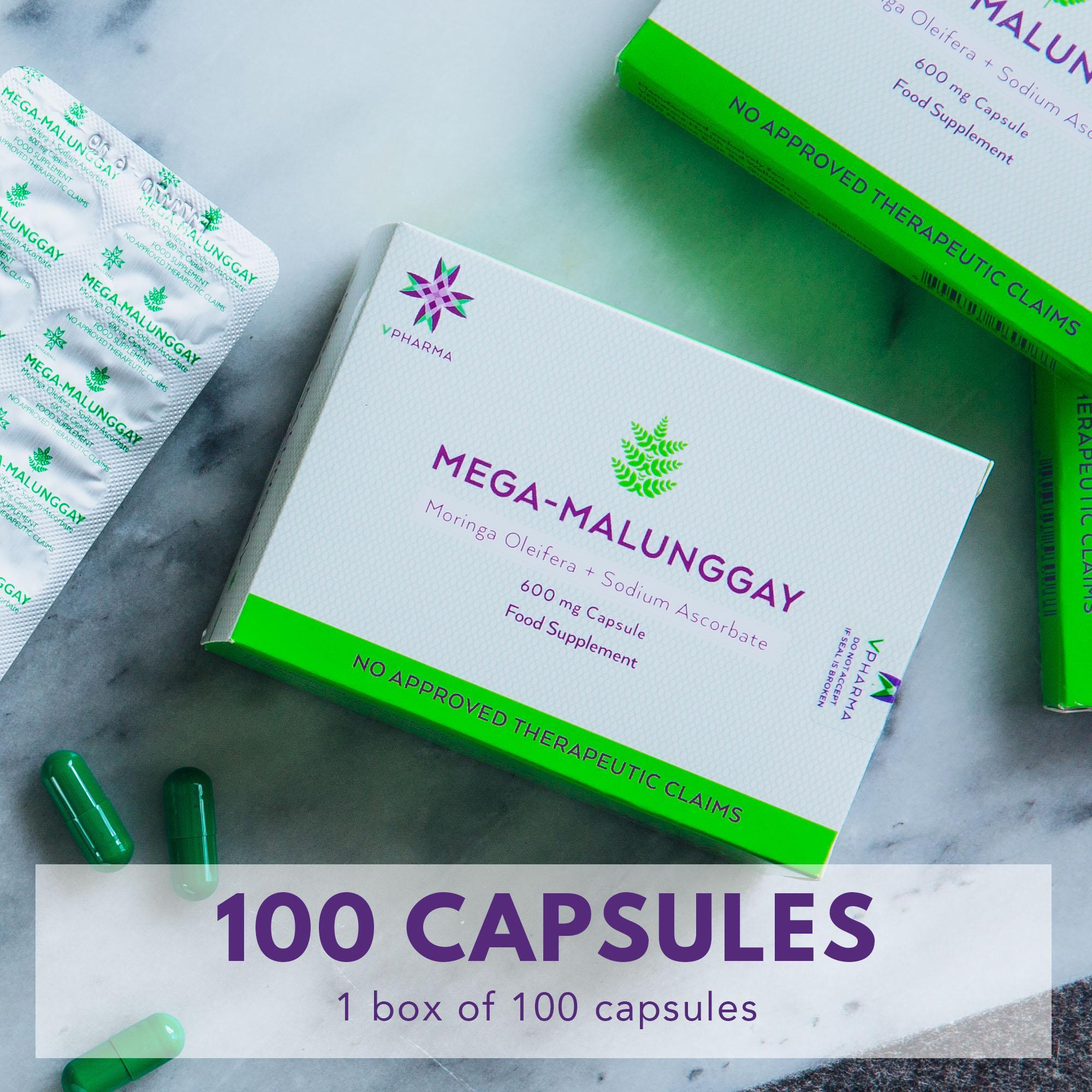Vpharma Mega Malung Capsules Moringa Oleifera Sodium Ascorbate 100