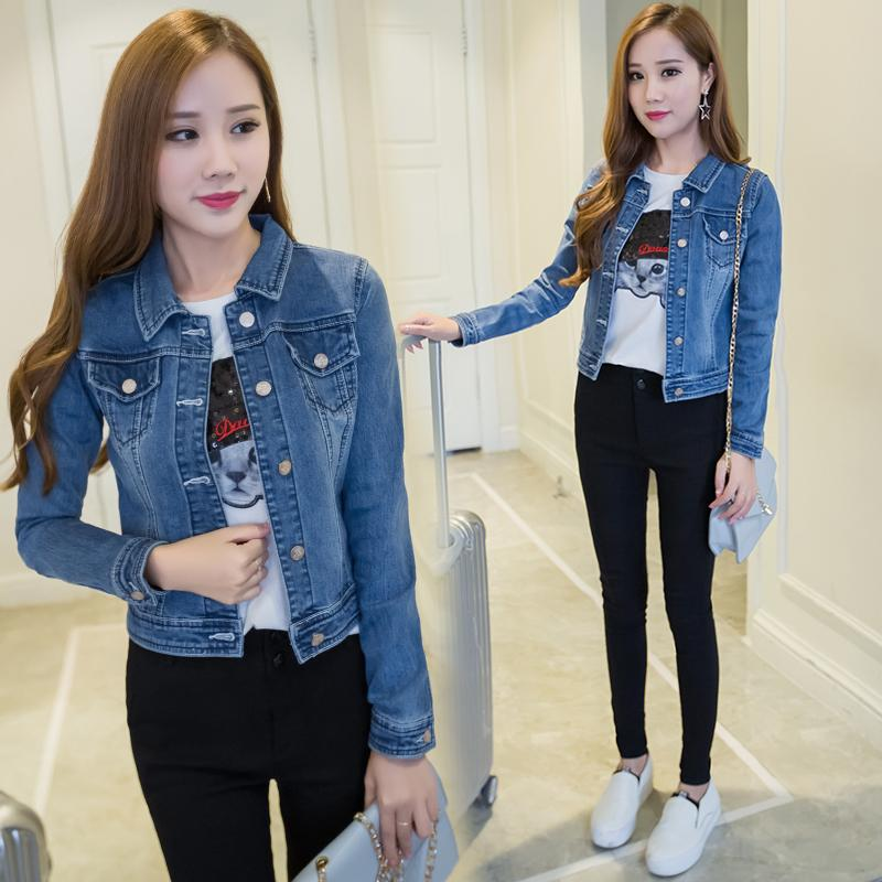 9611a31b9e160 Autumn Clothing New Style Korean Style Loose Slimming BF Big Pocket Long  Sleeve Jeans Coat Schoolgirl
