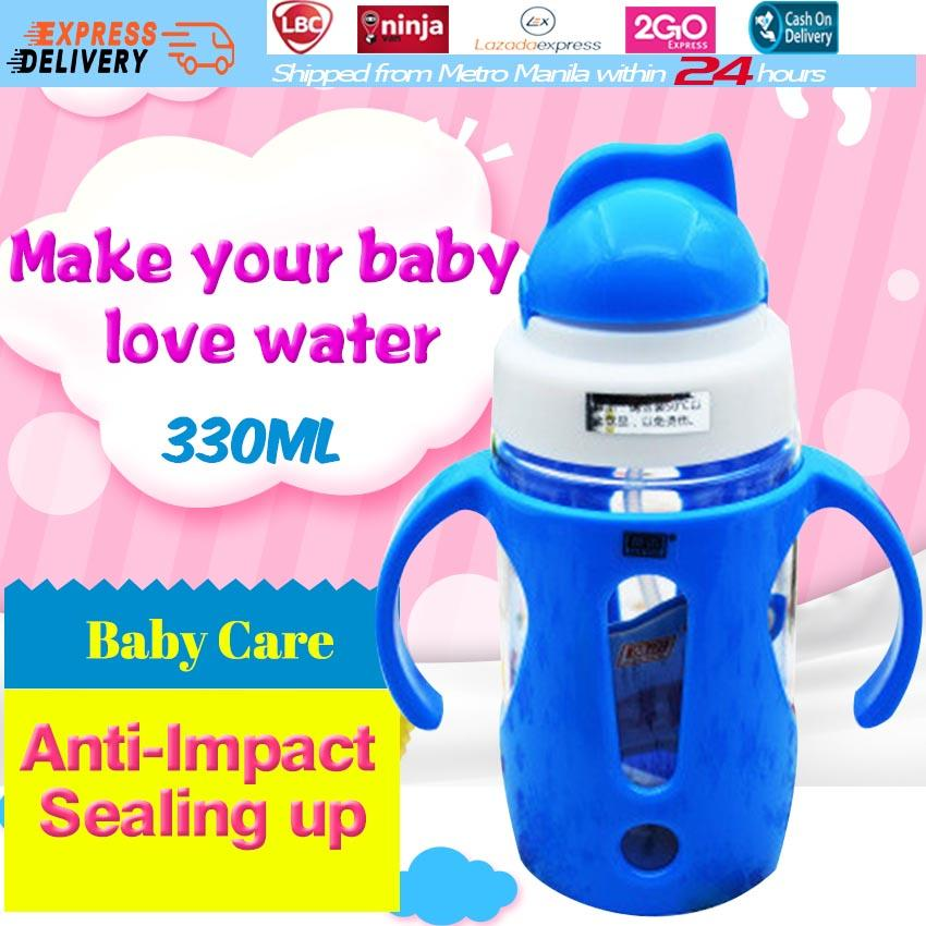 【BPA FREE】330ML Baby Feeding Bottles with Handle 360 Degree Gravity Straw Attached Cap