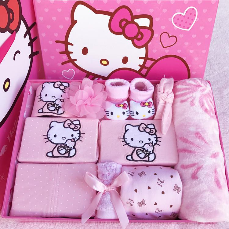 Hello Kitty Baby Gift Package Spring And Summer Autumn Newborns Cotton Clothes Supplies Set Baby's First