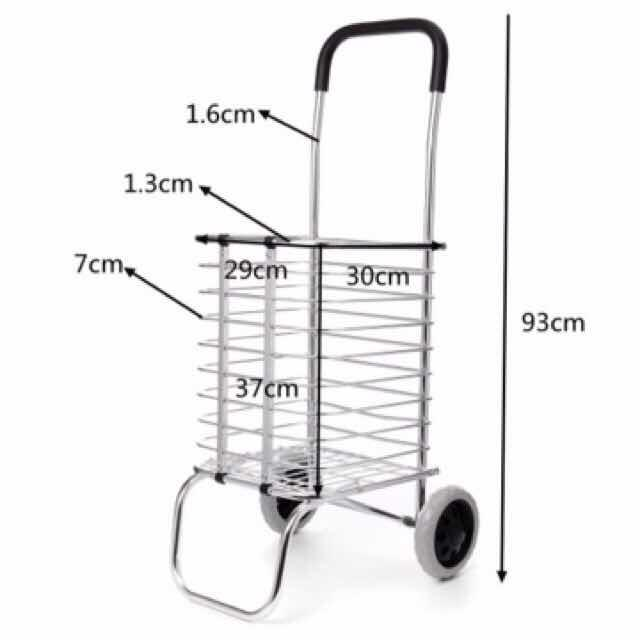 2 Wheel Aluminum Folding Portable Shopping Market Grocery Basket Cart Trolley By Crystal 168.