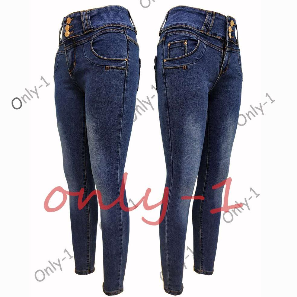 c66dbc50e93 SIZE:25-32/Only-1 High Waist 3Button Jeans Blue Stretchable Woman Pants New  Style!