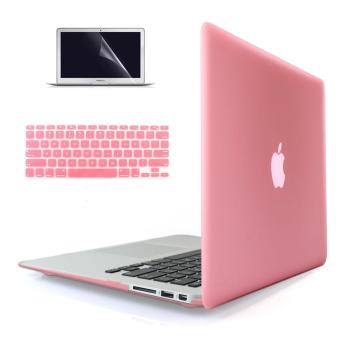 Welink 4 in 1 Soft-Touch Plastic Hard Case Cover +High Definition Anti-scratch Screen Protector+ Anti-dust Plug + Keyboard Cover for Macbook Air 13'' [ Models: A1369 / A1466 ] Release 2018/ 2017/ 2016 / 2015 / 2014 / 2013 / 2012 (NEWEST VERSION) ( Pink )