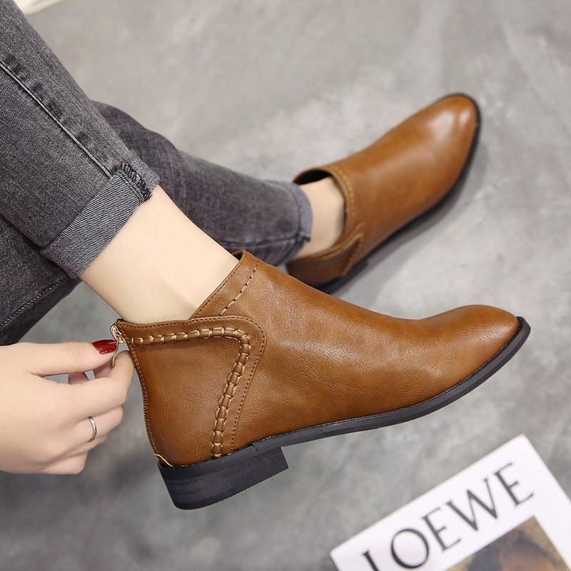 14d1f62bdd87 Spring And Autumn Martin Boots women England Versatile Short Boots Flat  Korean Style Ankle Boots Vintage